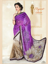 Indian Purple Color Weightless Printed Saree