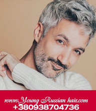 Grey wigs for men sew in with using unprocessed european hair, natural look, factory price