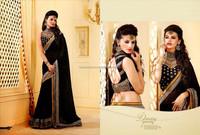 Zari Embroied Border & Heavy Stone Work Sari Online Selling