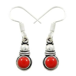 925 Silver Plated Over Copper Red Coral Gemstone Earrings Danglers Jewellery Gift For HerSE5602