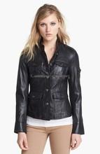 Crop Leather Jacket Crisp seams, a shrunken fit and signature