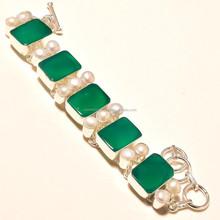 New Latest Green Onyx Gemstone Carved Bracelets For Jewelry 925 silver