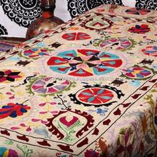 Handmade Suzani Wall Hanging , Suzani Throw , Suzani Tapestry , Suzani Bedspread