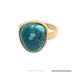 2-Micron GOLD 20k plated Natural Turquoise Stone Gemstone Fancy Shape Shape gemstone Stud girl`s Bezel Set Green Ring