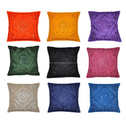 Decorative Heavy Handmade Embroidered And Mirror Work Indian Cotton Decorative Mirror Work Pillow Cushion Covers