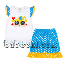 Truck with red hearts applique short sets for baby girls - BB484