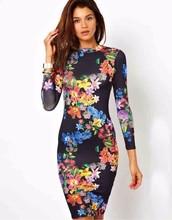 Women Spring Summer 2015 Long Backless Slim Fit Floral Print Long Dress