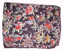 Indio impresión del pájaro negro bedsheet, Tela de algodón hechos a mano Kantha trabajo colcha manta de tiro