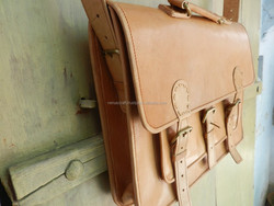 camel brown leather hand made messenger bags/real leather bag from venus crafts