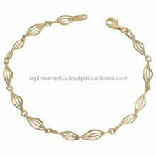 Laminated Gold Jewelry 10k Yellow Gold Twist Double Marquise Bracelet