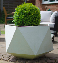 Geometric Light Cement Planter in White