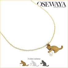 cat shape cute charm necklace from japan with love