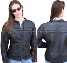 Cortech Womens LNX Leather Street Motorcycle Jacket Black (Choose Size)