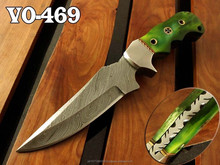 """8.0"""" Damascus Steel Fixed Blade Full Tang Hunting Knife"""