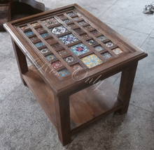 Rise only wooden dubai style mango wood ceramic tile fitted coffee tables
