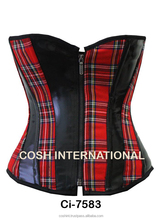 Red & Black Tartan With Black Leather Corset 9967, leather corsets, tartan corsets , steel boned corsets