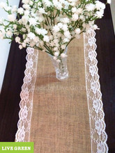 T220,LIVE GREEN,Wedding favour Burlap table runner,Jute table runner with lace on both sides (rose lace), Custom size acceptable