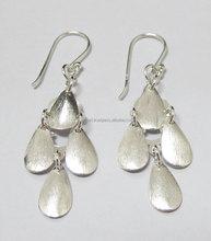 Silver 925 Earring Oval Matt Dangle Design Jewelry Wholesale Factory Thailand