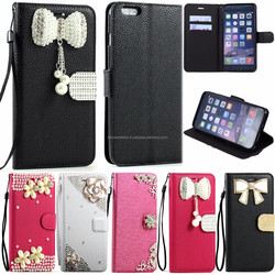 New Crystal Flip Leather Wallet Case Cover with Strap For iphone 6 4.7 (Ribbon Bow)