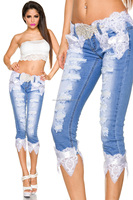 Sexy Woman Capri Jeans with Destroyed Parts and Handstitched Lace and Belt