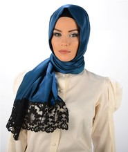 2015 New Style Exclusive High End Silk Looking Laced Hijab shawl 1136