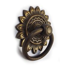 "Brass Ring tiradores-golden Sunbrust placa posterior 3 """