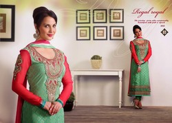Designer pretty glamour green & rose pink crystal brasso straight long cut party wear embroidered salwar suit