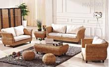 Luxury Living Room Furniture - Modern natural wicker living set furniture (acasia wooden frame, water hyacinth handmade woven)