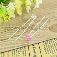 Bridal Party Wedding Decorative Hair Accessories Silver Color Iron Rhinestone Flower Hair Forks For Lady PHAR-S170-04