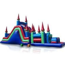 BUY 2 UNIT GET 1 FREE : EZ Inflatables 48 ft. Castle Obstacle Course Bounce House Multicolor - I108