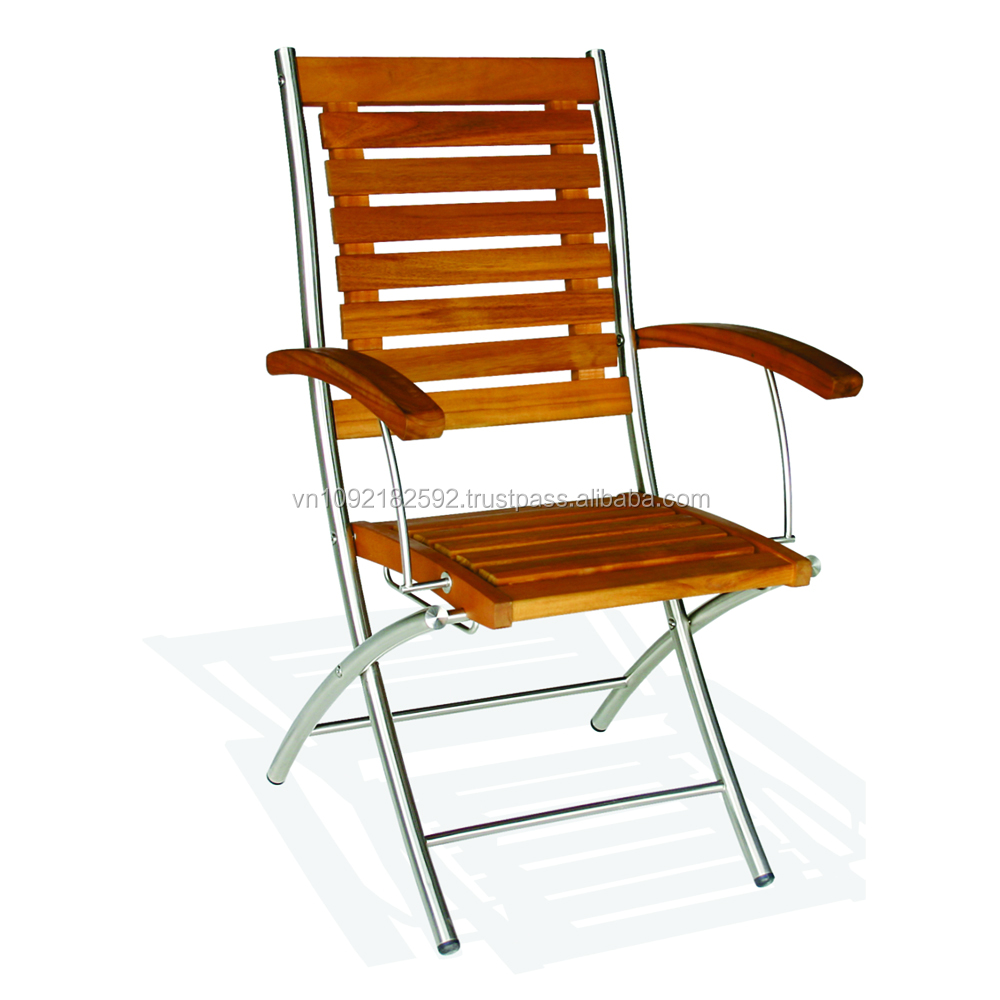 Steel Chairs Product : Siena folding arm chair stainless steel chairs outdoor