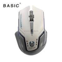 BASIC M-780GT Gray White Multi Function Game Ergonomic Design Optical Mouse 1600 DPI With LED Light Comfotable Mice For Laptop P