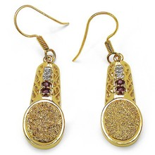 14K Yellow Gold Plated 7.71 Carat Genuine Golden Drusy, Garnet & White Topaz .925 Sterling Silver Earring