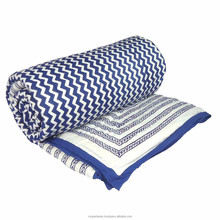 Queen Quilt Wavering Blue Chevron Cotton handmade