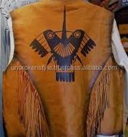 western leather vest/ suede leather fashion vest/fringe leather vest