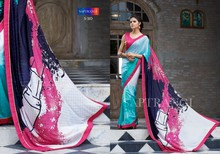 PURE SHIMMER CHEX GEORGETTE WITH EXCLUSIVE DESIGNER PRINT WITH FOIEL PRINT