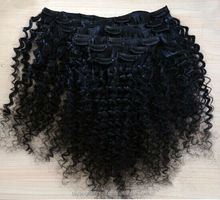 Clips-In Hair Extension Deep Wave Curly 18 inches Human Hair or Heat Resistant Fiber