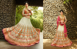 Heart throbbing Cream Bridal Designer Lehenga