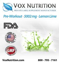 Pre-Workout 5002 mg Lemon Lime Bulk Supplement Powder - Private Label Pre-workout Sports Supplement