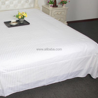 WEISDIN new products best selling polyester cotton white plain dyed 1cm stripe luxury cotton bedsheet