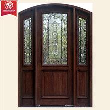 Cristal de madera maciza puerta principal, puerta de hierro forjado puerta con cristal claro