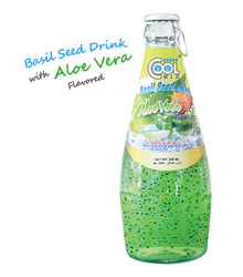 Basil Seed Aloe Vera Juice Drink Glass Bottle 290ml Sabja Seeds OEM Your Brand