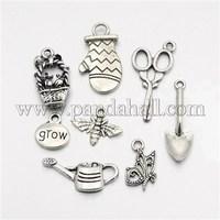 Tibetan Style Alloy Pendants, Gardeners Garden,Theme,Mixed Style, Antique Silver, 13~30x9~17x1~4mm, Hole: 1~4mm