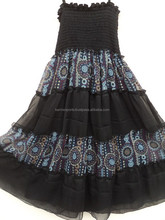 halter neck dress 2015 latest design pattern ethinc printed chiffon dress for kids wear girls