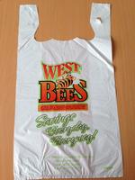 t shirt bag plastic hdpe colour printing glue spot vest type carrier bag