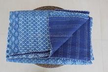 Indigo Blue PATCHWORK KANTHA Quilt Blanket Bedspread Throw Gudari Ralli India Bedding Patchwork Quilt Queen Bohemian Quilt Blue