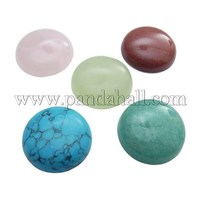 Round Gemstone Cabochons, Assorted Colors, Mixed Stone, about 25~26mm in diameter, 6~7mm thick