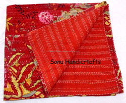 Indian Handmade Printed Kantha Quilt Reversible Queen Bedspread Bed Cover