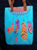 Hmong Indian tote neon sky blue canvas bag feather pattern