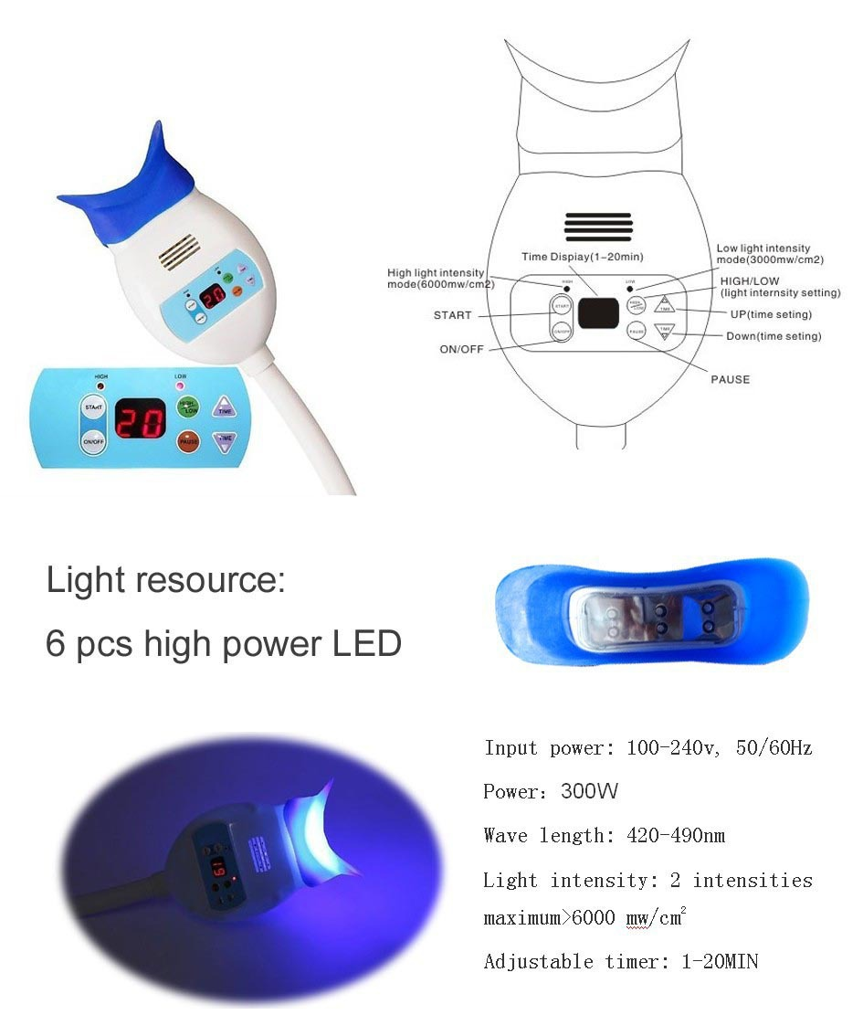 TR-KS-A Hot Sale Home Use Dental Teeth Whitening Lamp Bleaching System Blue Light With Desk Holder,teeth whitening home kit
